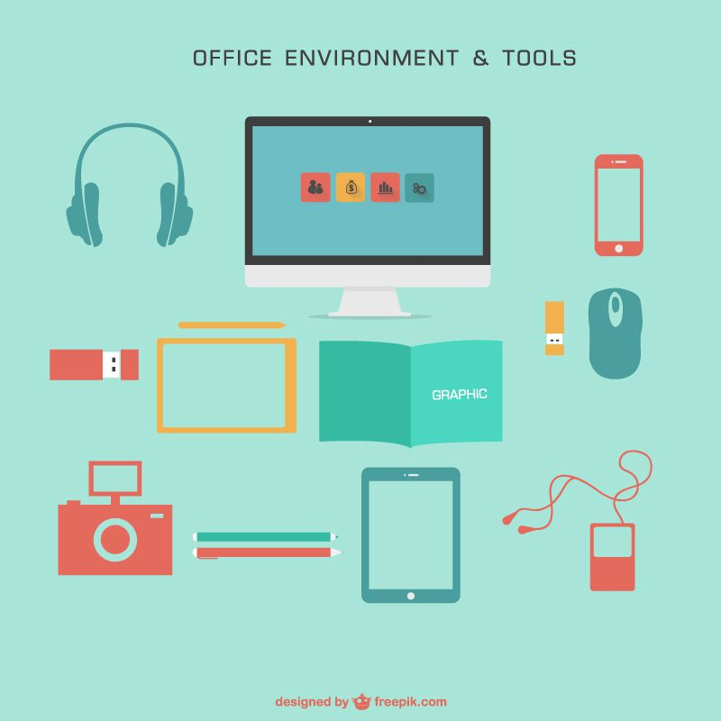 Office environment and tools vector pack colored free