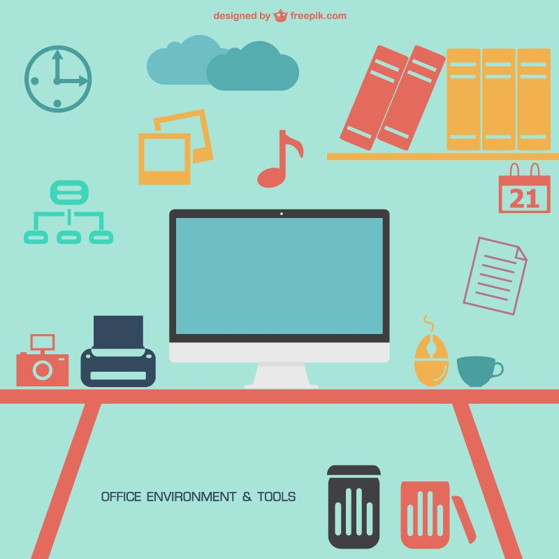 Office environment and desk scene with large mac computer tools free tools vector pack
