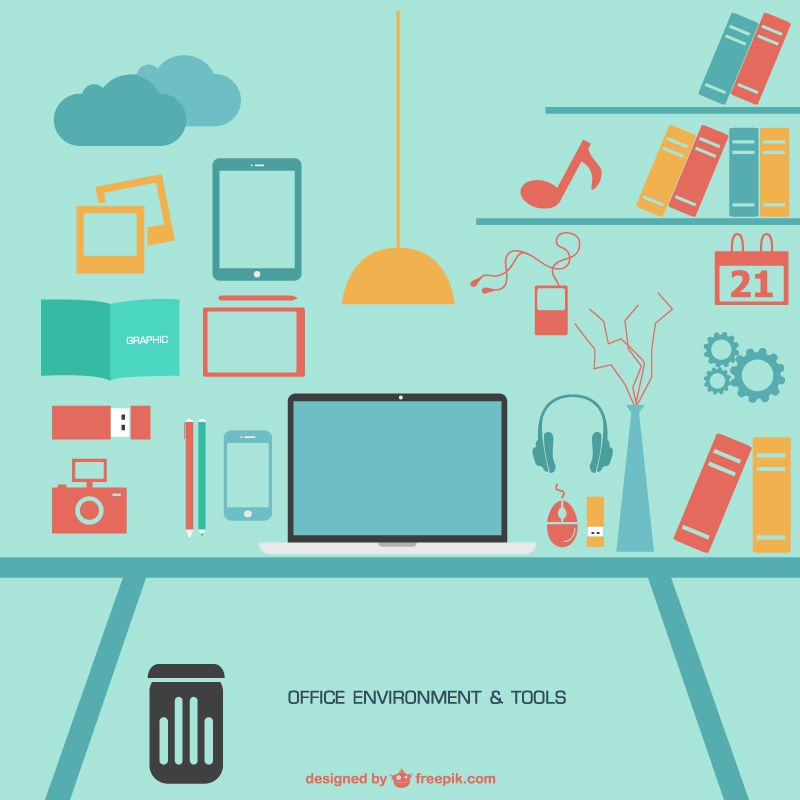 Office environment and tools with mac laptop free vector pack