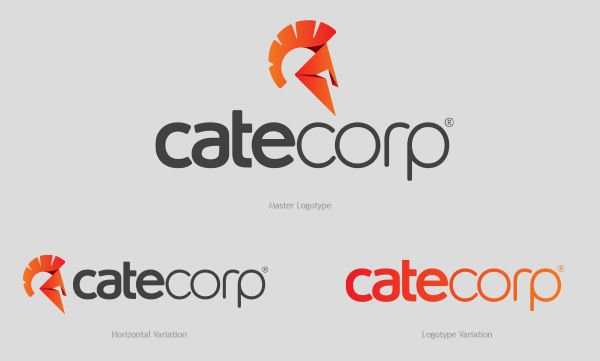 Cate Corp Logotype stationery Design identity