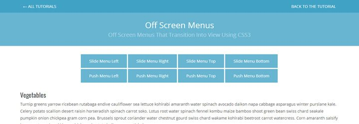 Creating off screen menus that transition into view using CSS3 weekly news