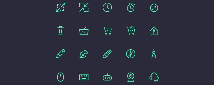 Stroke Gap Icons Set PSD free resources for designers