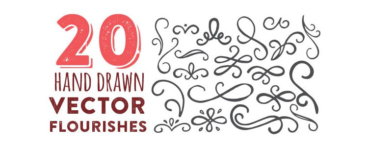 Hand Drawn Vector Flourishes freebies for designers