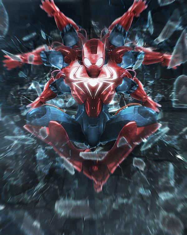 Spiderman and Iron Man mashup Digital Art by Bosslogic