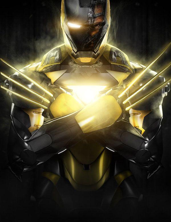 Wolverine and Iron Man mashup Digital Art by Bosslogic