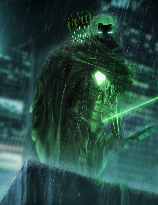 Green Arrow and Iron Man mashup Digital Art by Bosslogic