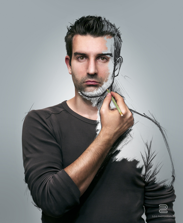 face shoulder man skethcing photo manipulation image self-portrait by Sebastien del Grosso