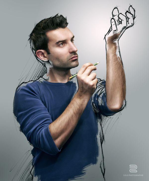 hand man sketch photo manipulation image self-portrait by Sebastien del Grosso