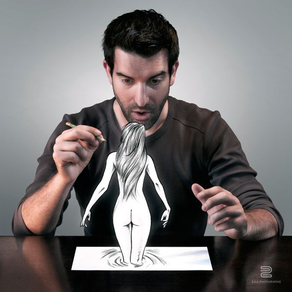 naked woman from paper water photo manipulation image self-portrait by Sebastien del Grosso