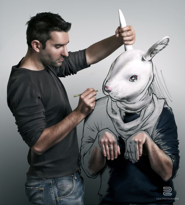 rabbit sketch man photo manipulation image self-portrait by Sebastien del Grosso
