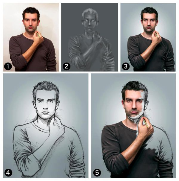 sketch how-to photo manipulation image self-portrait by Sebastien del Grosso