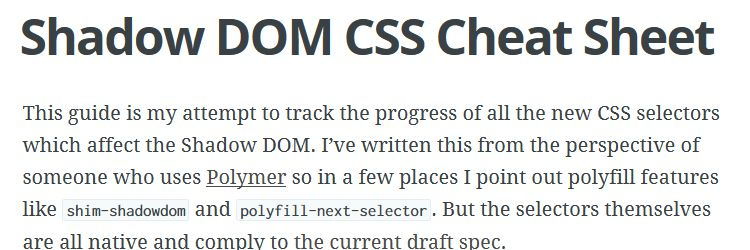 Shadow DOM CSS Cheat Sheet weekly news for designers