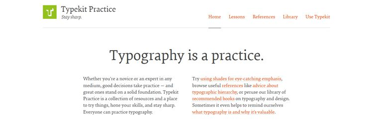 Typekit Practice - A place to hone your typography skills weekly news for designers