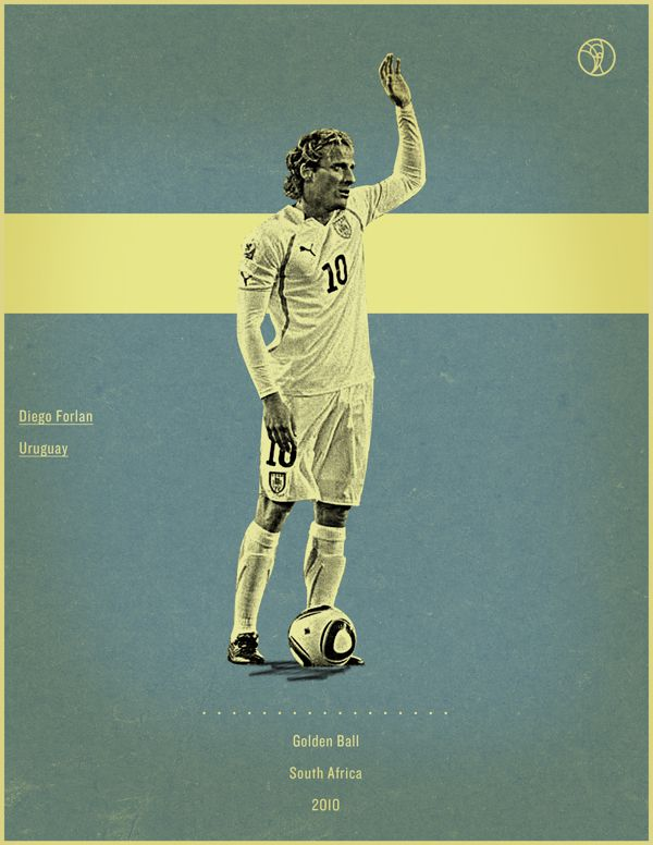 world cup fifa golden ball winner poster illustation Diego Forlan South frica 2010