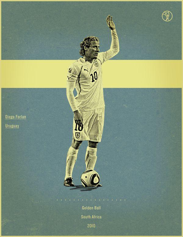 world cup fifa golden ball winner poster illustation Diego Forlan South frica 2010