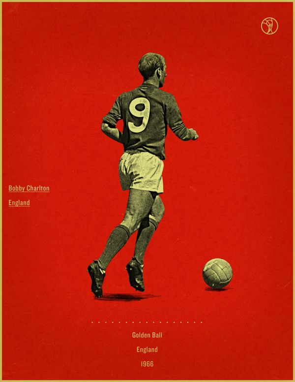 Bobby Charlton England 1966 world cup fifa golden ball winner poster illustation