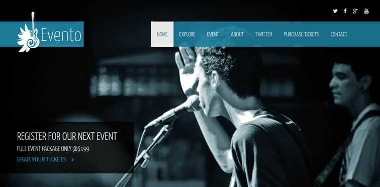 Evento event landing page template countdown counter Free Bootstrap Templates