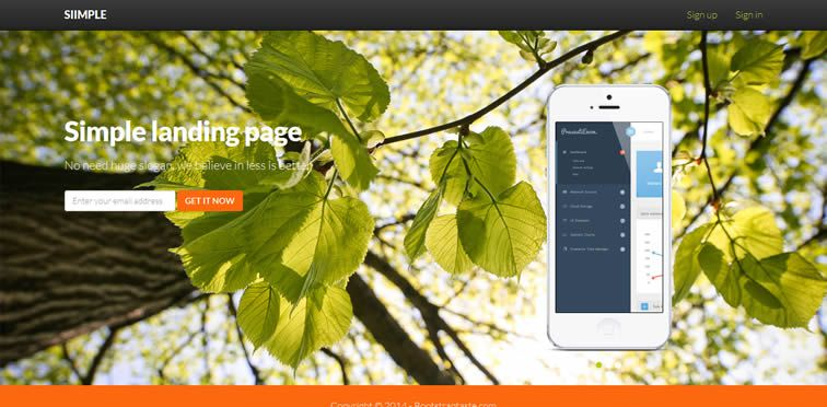 Siimple  A basic landing page template bootstrap