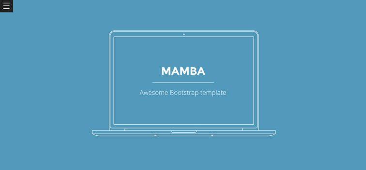 Mamba clean flat one-page template creative profiles portfolio free bootstrap