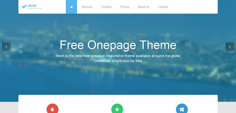 Xeon single-page template free small business company bootstrap