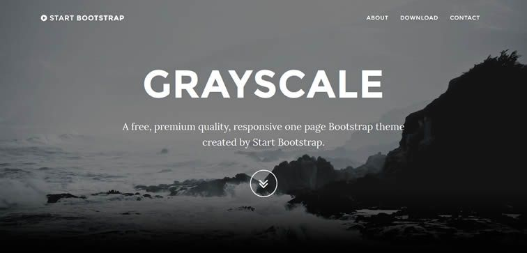 Grayscale basic one-page template showcasing portfolio free work bootstrap