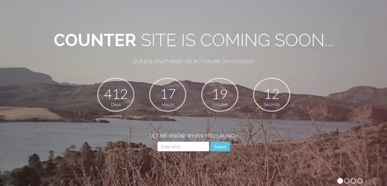Counter stylish coming soon template with countdown counter bootstrap free