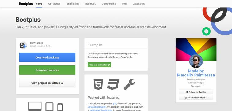 Bootplus Google styled front-end framework bootstrap free