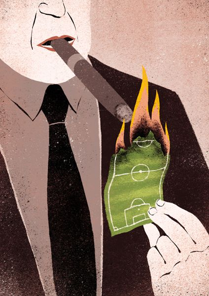 conceptual illustrations Overspending in Football