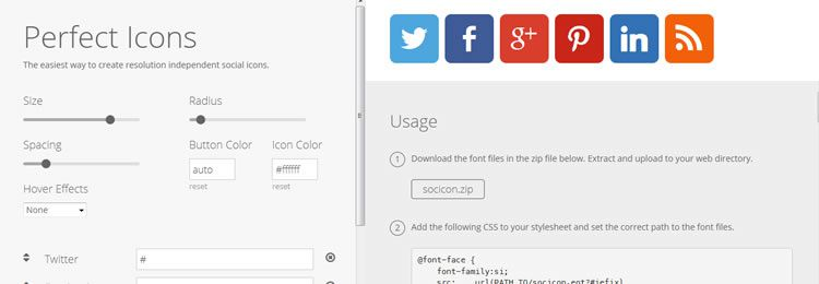 Perfect Icons A web based social icon creator