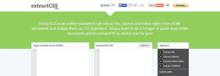 extractCSS A tool which can extract ids & classes from HTML documents and output a CSS stylesheet
