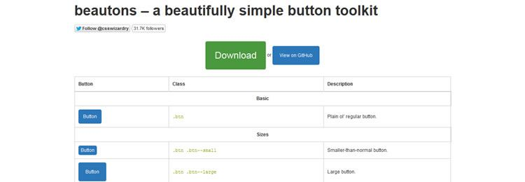 Beautons A CSS toolkit for creating consistent, robust and solid buttons