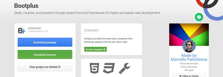 Based on Bootstrap, Bootplus is a Google+ inspired front-end framework