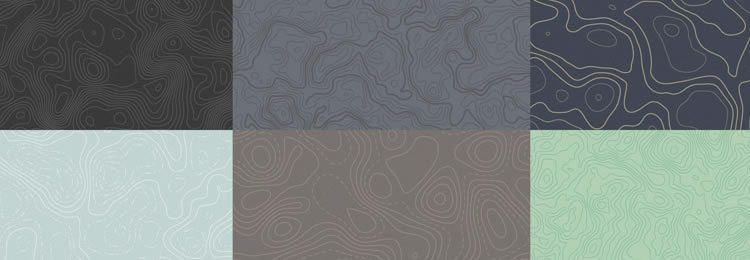 8 Seamless Vector Topographic Map Patterns