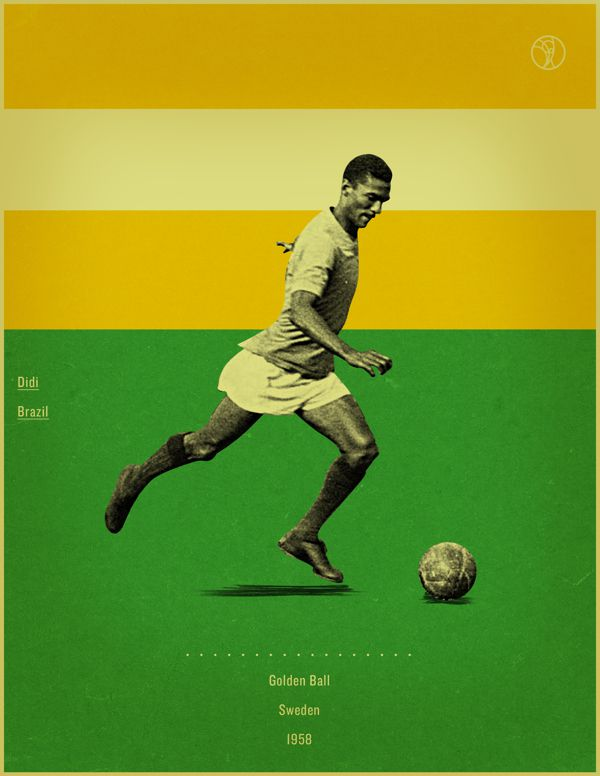 Didi Sweden 1958 world cup fifa golden ball winner poster illustation