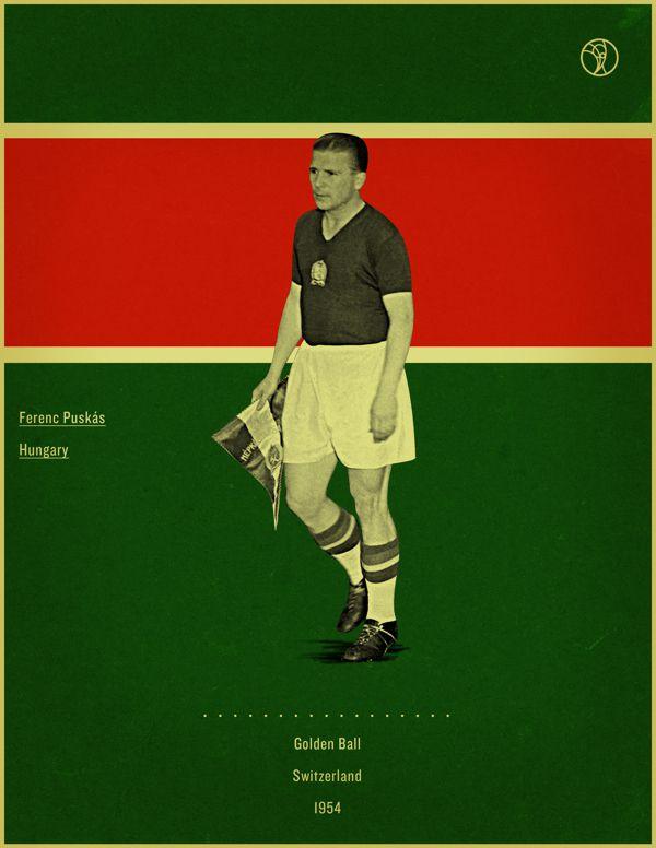 Ferenc Puskas Switzerland 1954 world cup fifa golden ball winner poster illustation