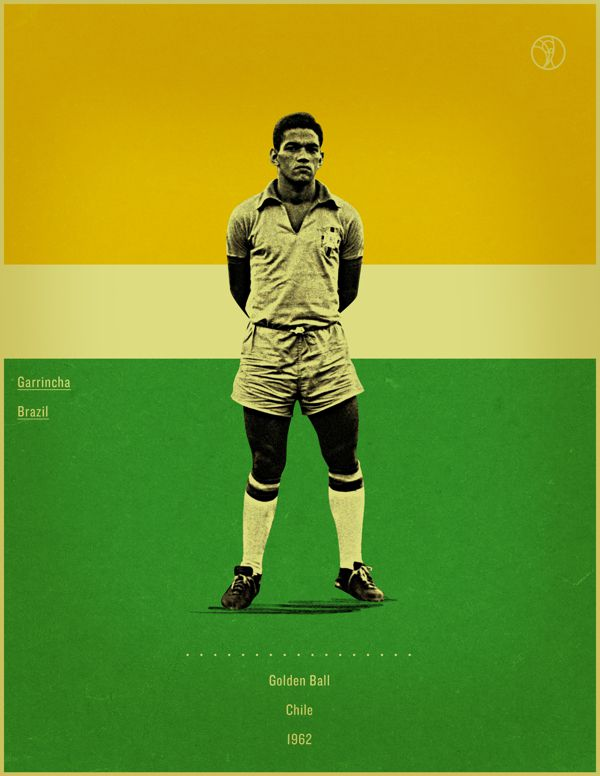 Garrincha Chile 1962 world cup fifa golden ball winner poster illustation