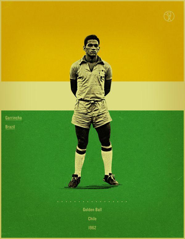 Garrincha Chile 1962 world cup fifa golden ball winner poster illustation