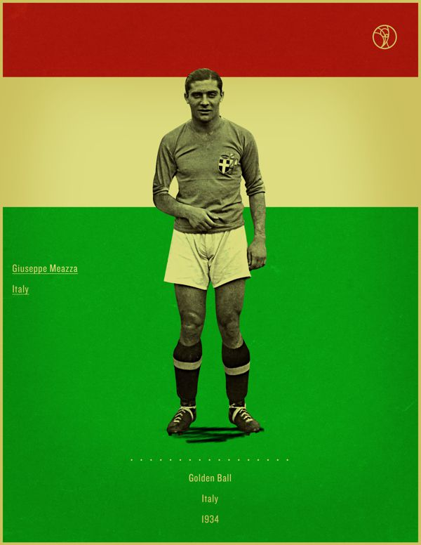 Giuseppe Meazza Italy 1934 world cup fifa golden ball winner poster illustation