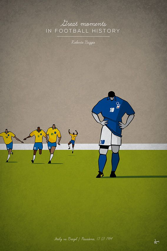 great moments in Football History Illustration Series Roberto Baggio italy braziil 1994 penalty