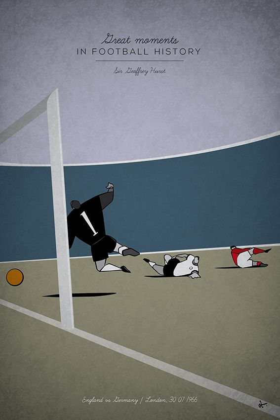 great moments in football illustration series history hat-trick england germany world cup 1966 final