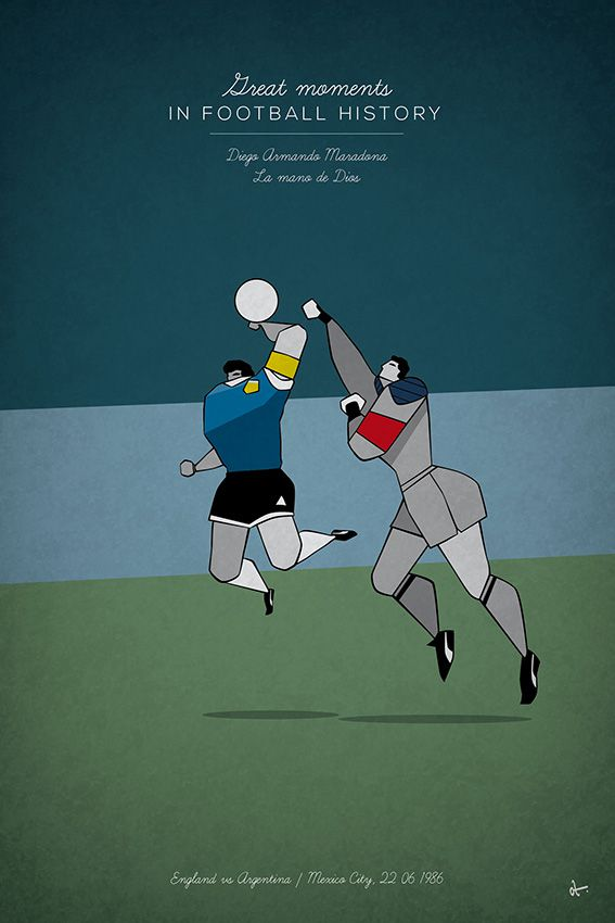 great moments in football history series illustration diego maradona argentina england had of god 1986