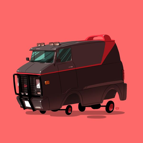 greatest rides poster series cartoony style Illustrated Vehicles cars movie tv