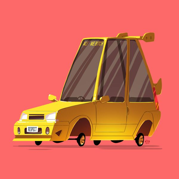 greatest rides poster series cartoony style illustration cars movie tv