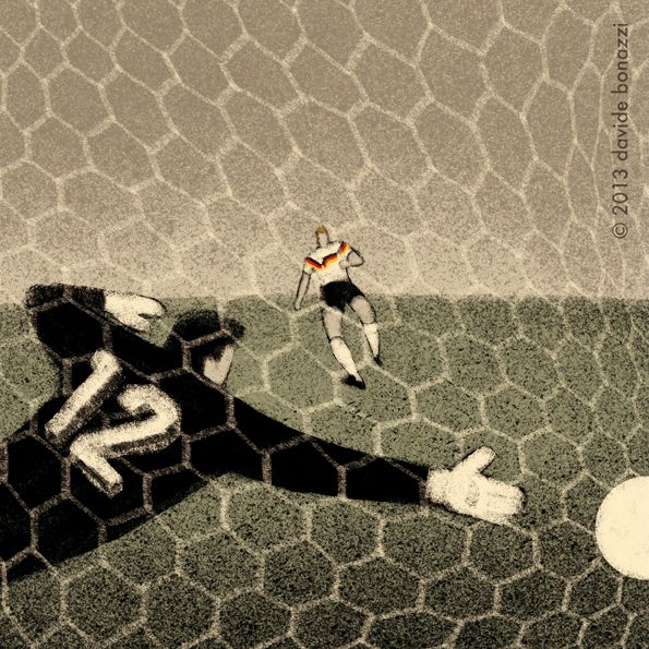 Italy 1990 Andreas Brehme scores the penalty kick against argentina World Cup Illustration