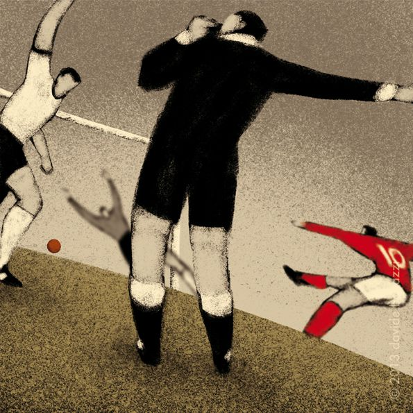 World Cup Illustration England 1966 Geoffrey Hurst scores the goal that never crossed the line in extra time against west germany