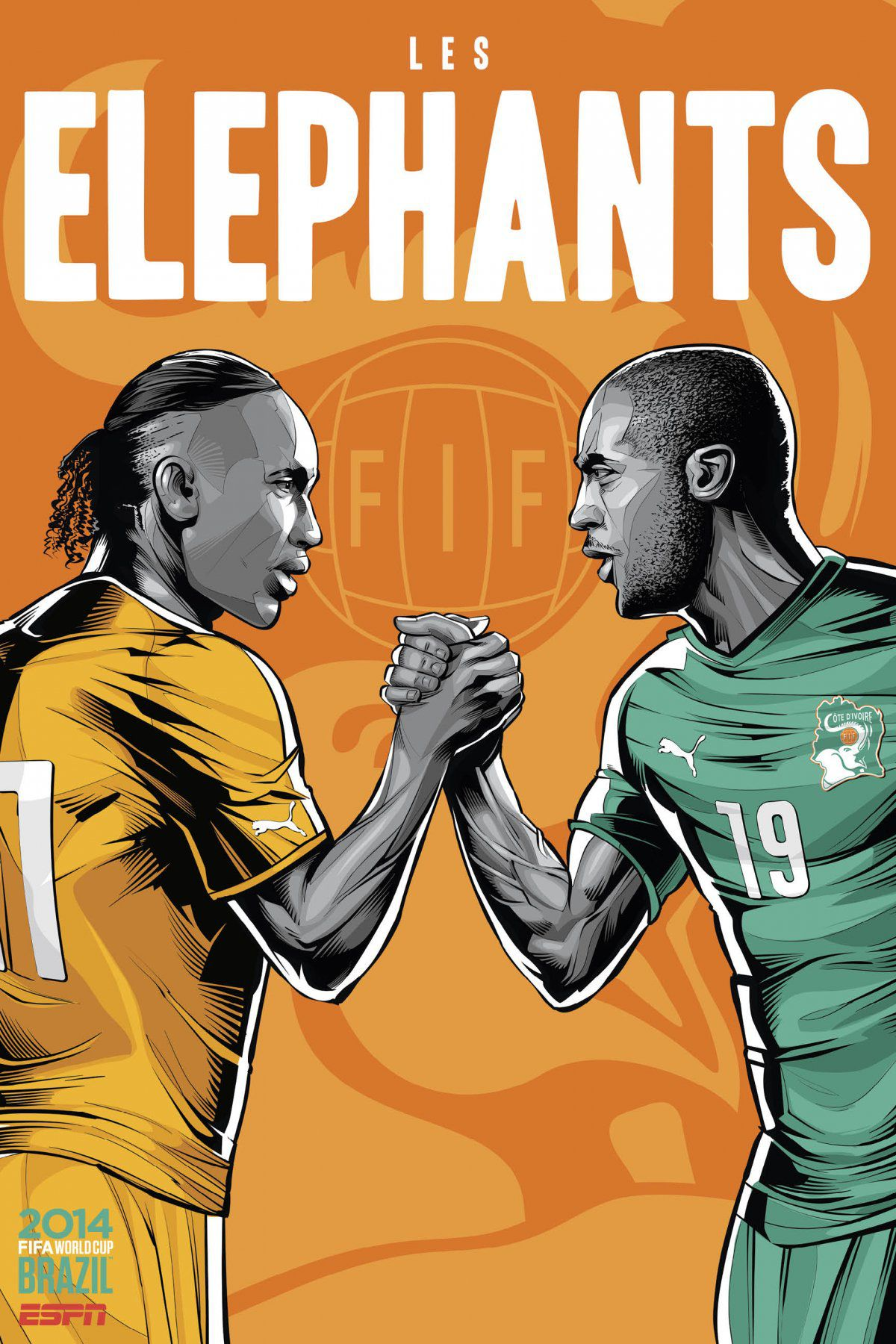 ESPN poster world cup brazil 2014 of Ivory Coast