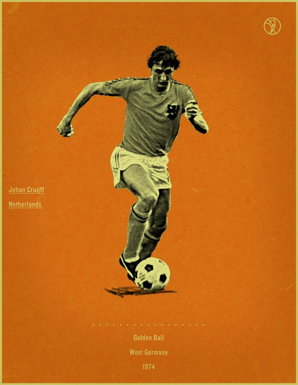 Johan Cruyff West Germany 1974 world cup fifa golden ball winner poster illustation