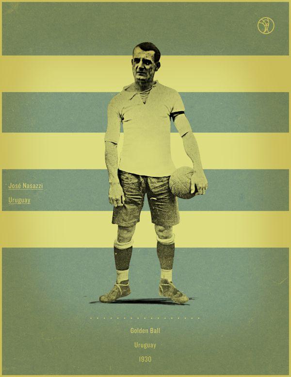 Jose Nasazzi Uruguay 1930 world cup fifa golden ball winner poster illustation