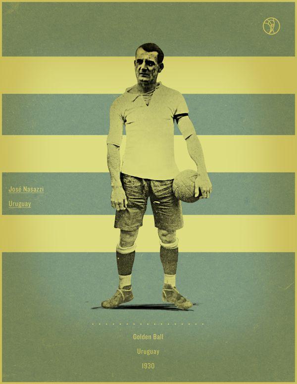 Jose Nasazzi Uruguay 1930 world cup fifa golden ball winner poster illustation
