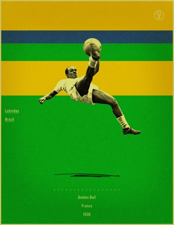 world cup fifa golden ball winner poster illustation Leonidas France 1938